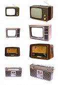 Vintage of  radio and TV devices isolated on white background