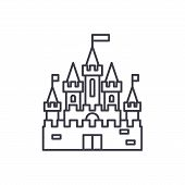 Princess Castle Line Icon Concept. Princess Castle Vector Linear Illustration, Symbol, Sign poster