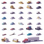 Vector Cars And Trucks Collection. Includes Cars, Sports Cars, Suv, Trucks, Monster Truck, Electric  poster
