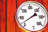 Oven Thermometer Close Up, Retro Look Thermometer Wooden Background poster