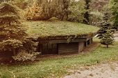 Ww2 Bunker In The Forest At Szymbark Area In Poland, Shelter In Case Of Bombing. poster