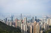 Beautyful View Of Hongkong Urban And Victoria Harbor On Sunset. poster