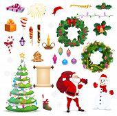 Christmas Icons Of Xmas And New Year Vector Winter Holiday Vector Symbols. Santa, Snowman With Pine  poster