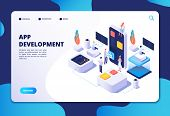 App Development Concept. Developer Designer Work On Smartphone Mobile Application. Customized Ui Des poster