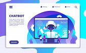 Chatbot Landing Page. Ai Robot Chatting With Woman And Man. Artificial Intelligence Presentation Vec poster