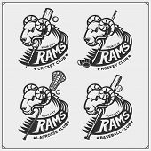 Cricket, Baseball, Lacrosse And Hockey Logos And Labels. Sport Club Emblems With Rams. poster