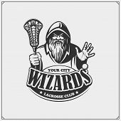 Lacrosse Club Emblem With Wizard Or Magician. Print Design For T-shirts. poster