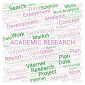 Academic Research Word Cloud. Wordcloud Made With Text Only. poster