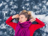 Portrait Of Beautiful Young Girl With Flowing Hair In Red Dress On Blue Ice Background. Happiness, D poster