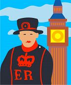 image of beefeater  - beefeater and big ben - JPG