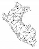 Polygonal Mesh Map Of Peru In Black Color. Abstract Mesh Lines, Triangles And Points With Map Of Per poster
