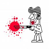 Killer With Firearms Blood Vector Illustration On White Background. poster