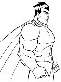 Side View Line Art Illustration Of A Powerful And Determined Superhero With Cape Looking Forward Rea poster