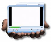 Hands Hold & Offer Media Player Video Presentation