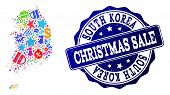 Christmas Sale Combination Of Mosaic Map Of South Korea And Scratched Seal. Vector Blue Watermark Wi poster