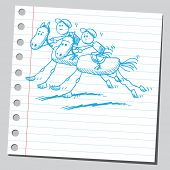 pic of horse riding  - Hand drawn horse racing - JPG