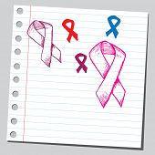 Hand drawn awareness ribbons