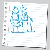 Hand drawn grandmother and grandfather