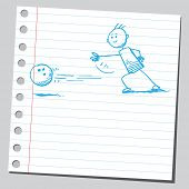 stock photo of bowling ball  - Hand drawn man bowling - JPG