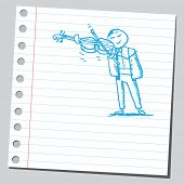 Scribble style illustration of a violinist