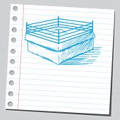 Sketch style vector illustration of a boxing ring