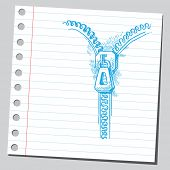 Sketch style vector illustration of a zipper