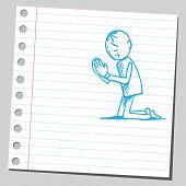 Sketchy illustration of a man praying