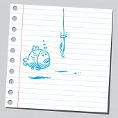 Sketchy illustration of a fish and a hook