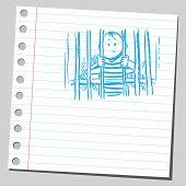 Sketchy illustration of a man in jail