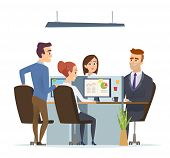 Office Workplace Team. Business Managers Male And Female Working And Talking Sitting Table Dialog Of poster