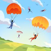 Parachute Jumpers Sky. Extreme Sport Hobbies Adrenaline Character Flying Action Pose Skydiving Parap poster