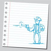 Drawing of a gunman shooting