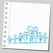Note paper sketch of a big family