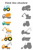 Find The Shadow Game With Pictures Of Construction Transport For Children, Education Game For Kids, poster