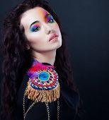 Carnival. Fancy Dress Party. Cute Girl Art Portrait