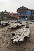 Old Wooden Boats On The Beach
