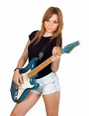 Teen rebellious girl playing electric guitar isolated on a over white background