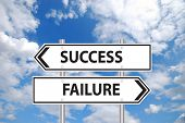 Success or failure sign in front of cloudy blue sky