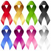 Vector breast ribbons set. Red, yellow, green, blue, purple, pink and black bands isolated on white