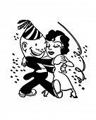 New Year's Dance Couple - Retro Clipart Illustration