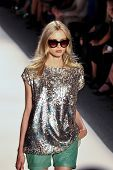 NEW YORK - SEPTEMBER 12:A model walks the runway at the RACHEL ZOE Spring/Summer 2013 collection Mer