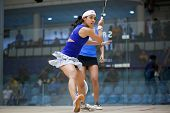 BUKIT JALIL, MALAYSIA - SEPTEMBER 11: Nicol David (head band) defeats Joshna Chinappa at the CIMB Ma