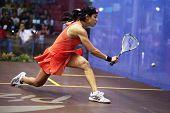 DAMANSARA - SEP 14:Nicol David joga um retorno tiro durante semifinal feminino do CIMB M