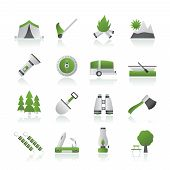 Camping, travel and Tourism icons