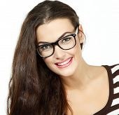 portrait of attractive caucasian smiling woman with glasses, isolated on white, studio