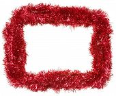 Red Christmas Garland, Rectangular Frame, Isolated On White