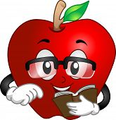 Illustration of a Bespectacled Apple Holding a Book