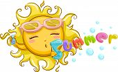 Mascot Illustration Featuring a Sun Blowing Bubbles That Spell the Word Summer