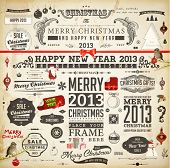 Christmas decoration collection | Set of calligraphic and typographic elements, frames, vintage labe