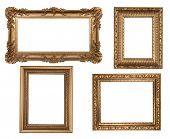 Vintage Detailed Gold Empty Picure Frames